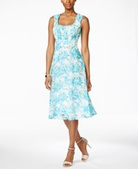 Connected Sleeveless Floral Print Empire Waist Dress Light Blue White
