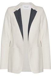 Derek Lam 10 Crosby By Denim Trimmed Faux Leather And Crepe Blazer White