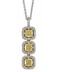 Neiman Marcus Diamonds Three Stone Yellow Diamond Pendant Necklace 1.6Tcw