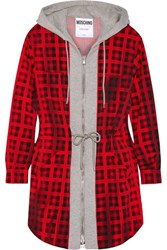Moschino Hooded Checked Wool Blend And Cotton Jersey Mini Dress Red