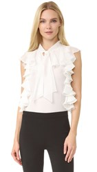 Giambattista Valli Sleeveless Ruffle Top White