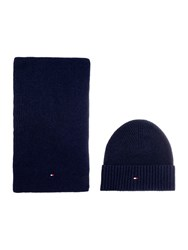 Tommy Hilfiger Cotton And Cashmere Scarf And Beanie Navy