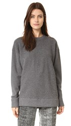 Jason Wu Plisse Pullover Sweater Dark Flint Melange