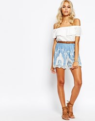 Fashion Union Cotton Shorts With Embroidered Scallop Hem Blue