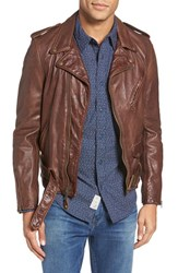 Schott Nyc Men's Washed Leather Moto Jacket Brown