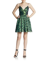 Aidan Mattox Metallic Surplice Fit And Flare Dress Green