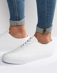 Asos Oxford Lace Up Plimsolls In White White