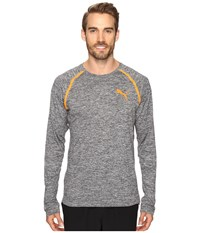 Puma Bonded Tech Long Sleeve Tee Dark Gray Heather Shocking Orange Men's Long Sleeve Pullover