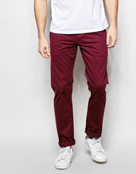 Farah Chino In Slim Fit Stretch Cotton Wine Red