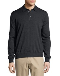 Neiman Marcus Wool Long Sleeve Polo Shirt Shadow