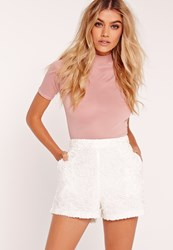 Missguided Lace High Waisted Shorts White White