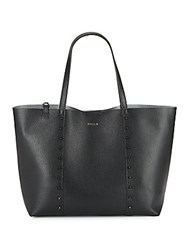 Furla Elle Rock Pebbled Leather Tote And Pouch Set Onyx