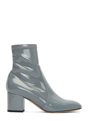 Valentino Patent Block Heeled Ankle Boots Blue