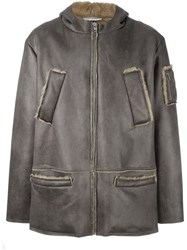 Gosha Rubchinskiy Zipped Shearling Coat Brown