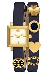 Tory Burch Women's 'Saucy' Double Wrap Leather Strap Watch 25Mm Navy Ivory Gold