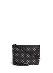 Alexander Mcqueen Skull Charm Stud Leather Flat Crossbody Bag Black