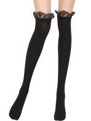 La Perla Merino Wool Rib Knit Socks W Lace Trim