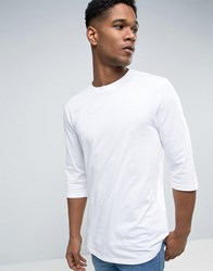 New Look T Shirt With 3 4 Length Sleeves And Curved Hem In White White