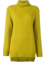 Chinti And Parker Funnel Neck Cable Jumper Green