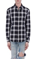 Saint Laurent Men's Plaid Cotton Western Shirt No Color