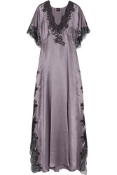 Carine Gilson Chantilly Lace Trimmed Silk Satin Nightdress Dark Gray Lavender