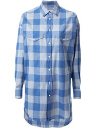 Cityshop 'Long Western' Checked Shirt Blue