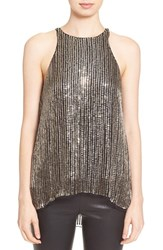 Women's Parker 'Brody' Sleeveless Embellished Silk Top Gold