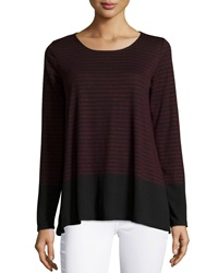 Max Studio Striped Long Sleeve Tee Black Oxb