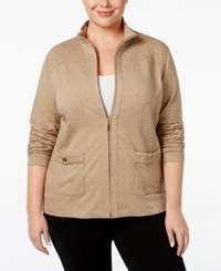 Karen Scott Plus Size Quilted Trim Lounge Jacket Only At Macy's Chestnut Heather
