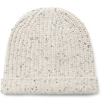 Alex Mill Ribbed Melange Cashmere Beanie Off White