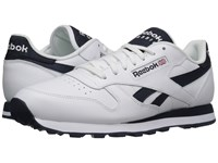 Reebok Classic Leather Pop Sc White Collegiate Navy Men's Classic Shoes Blue