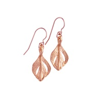 Chupi Tiny Swan Feather Earrings Rose Gold