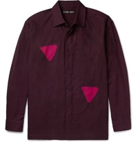 Issey Miyake Men Itajine Printed Brushed Cotton Twill Shirt Burgundy