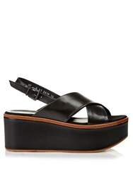 Robert Clergerie Flix Leather Flatform Sandals Black