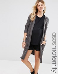 Asos Maternity Cardigan In Boucle Charcoal Grey