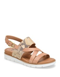 Sofft Marisol Mixed Media Snake Print Leather Slingback Wedge Sandals Luggage
