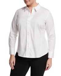 Lafayette 148 New York Francine Button Front Blouse White