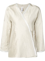 Dosa Wrap Tunic Blouse Nude And Neutrals