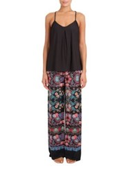 In Bloom Meander Floral Knit Pajama And Cami Top Set Black Blue