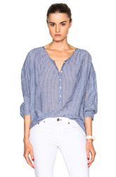 Nili Lotan Matisse Province Top In Blue Stripes