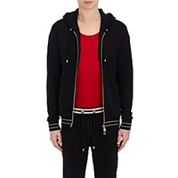 Balmain Men's Fleece Zip Front Hoodie No Color