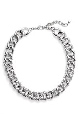 Women's Nordstrom Encrusted Curb Chain Collar Necklace Silver Black