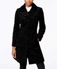Jones New York Faux Leather Trim Textured Faux Fur Walker Coat Black