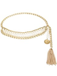 Chanel Vintage Multi Strand Pearl Chain Belt Metallic