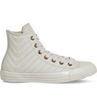 Converse All Star Stitched Leather High Top Trainers Parchment Rose Quilt