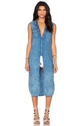 Blank Nyc Long Button Up Tank Blue