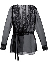 Dolce And Gabbana Sheer Wrap Blouse Black