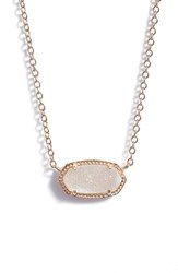 Kendra Scott Women's 'Elisa' Pendant Necklace Iridescent Drusy Rose Gold