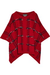 Boutique Moschino Tartan Wool Blend Boucle Poncho Brick