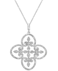 Victoria Townsend Diamond Clover Pendant Necklace In Sterling Silver 1 Ct. T.W.